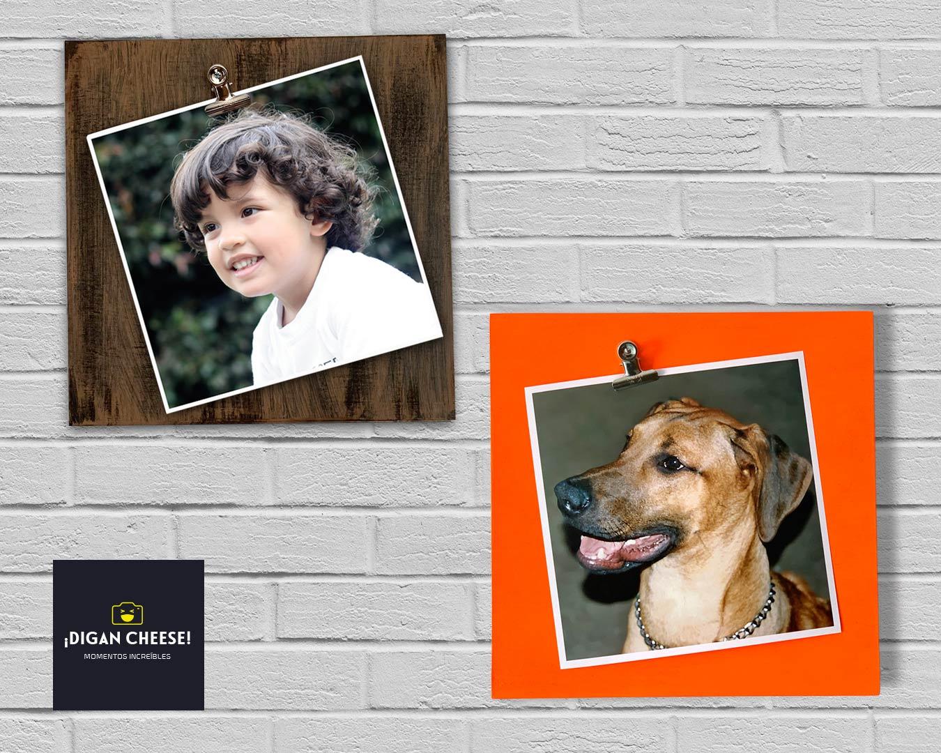 Caja de madera de color amarillo para guardar sobres de Té, en la tapa se encuentra la foto de un perro de color negro y blanco. Este objeto se apoya sobre una mesa de madera de color cafe.